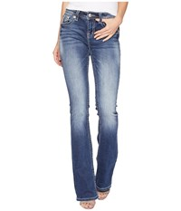 Miss Me Mid Rise Boot With Embroidery In Medium Blue Medium Blue Jeans