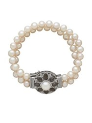 Lord And Taylor Double Strand Diamond Pearl Floral Bracelet Silver Pearl