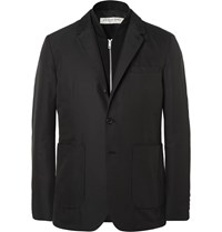Burberry Black Slim Fit Shell Blazer With Detachable Wool Gilet