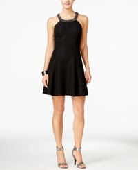 Betsy And Adam Petite Embellished A Line Dress Black