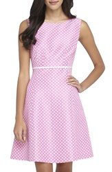 Women's Tahari Polka Dot Jacquard Fit And Flare Dress Pink White