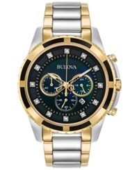 Bulova Men's Chronograph Diamond Accent Two Tone Stainless Steel Bracelet Watch 44Mm 98D132 A Macy's Exclusive Style No Color