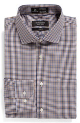 Nordstrom Men's Big And Tall Men's Shop Smartcare Tm Trim Fit Plaid Dress Shirt Brown Bear