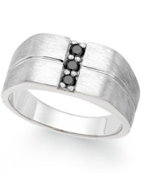 Macy's Men's Black Diamond Ring In Sterling Silver 1 4 Ct. T.W.