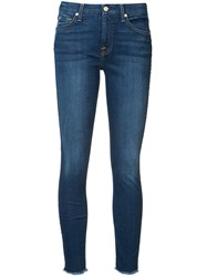 7 For All Mankind Frayed Ankle Skinny Jeans Blue