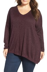 Nydj Plus Size Women's Shimmer Asymmetrical Sweater Zinfandel