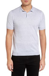 John Smedley Men's Seal Island Wool Jersey Polo Feather Grey