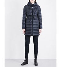 Moncler Barbel Hooded Quilted Shell Coat Navy