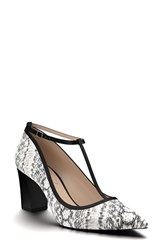 Shoes Of Prey Women's Pointy Toe Pump Black White Print Leather