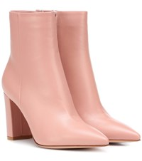 Gianvito Rossi Piper 85 Leather Ankle Boots Pink