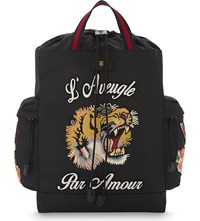 Gucci Embroidered Tiger Nylon Backpack Black Multi