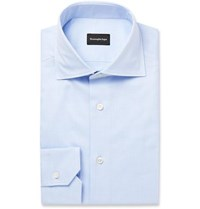 Ermenegildo Zegna Light Blue Cutaway Collar Puppytooth Cotton Shirt Blue