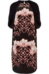 Biyan Embellished Printed Silk Satin Dress Black
