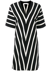 Chloe Short Sleeve Chevron Dress Women Cotton S Black