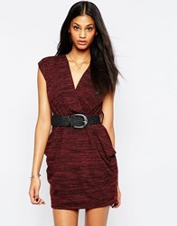 Pussycat London Dress With Wrap Front Brown