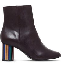 Kurt Geiger Noble Leather Ankle Boots Wine