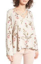Lush Women's Cross Front Blouse Ivory Blush Floral