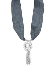 Cara Chainlink Tassel Pendant Tie Up Necklace Grey