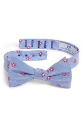 Southern Tide Cumberland Floral Cotton And Silk Bow Tie Raspberry Blue
