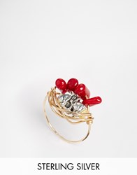 Katandbee Kat And Bee Wrapped Dark Red Coral 14Ct Gold Filled Wire Ring Glddrkrdcoral