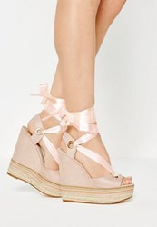 Missguided Nude Chain Detail Ribbon Tie Wedge Sandals
