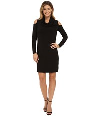Dkny Drapey Matte Jersey Cowlneck Dress Black Women's Dress