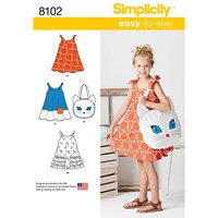 Simplicity Child's Dress And Cat Bag Sewing Pattern 8102