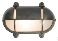 Original Btc Oval Bulkhead Light With Eyelid Shield Bt Dp7435 Br We Weathered Brass Gray