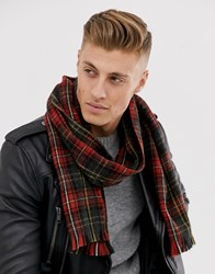 New Look Scarf In Tartan Check Red