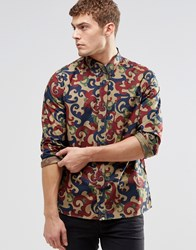 Pretty Green Shirt In All Over Camo Print In Slim Fit Red
