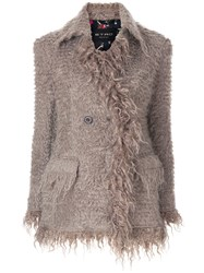 Etro Fluffy Buttoned Jacket Grey