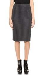 Lisa Perry Wide Pinstripe Pencil Skirt Charcoal Pinstripe