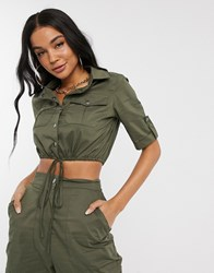 Parisian Crop Utility Shirt Two Piece Green