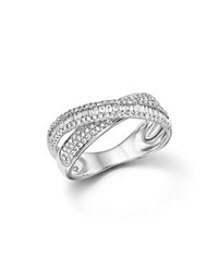 Bloomingdale's Diamond Round And Baguette Crossover Ring In 14K White Gold .65 Ct. T.W.