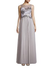 Basix Black Label Embellished Boatneck Gown Silver
