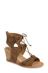 Dolce Vita Women's Langly Perforated Wedge Sandal Olive Nubuck Leather