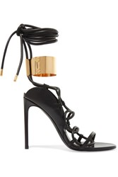 Tom Ford Embellished Leather Sandals Black