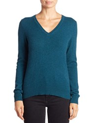 Lord And Taylor Plus Cashmere V Neck Sweater Teal Heather