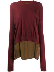 Uma Wang Contrast Back Sweater Red