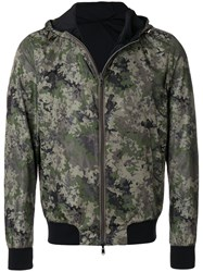 Herno Hooded Camouflage Bomber Jacket Green