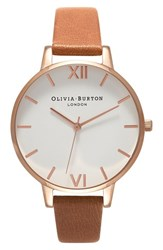 Olivia Burton Women's 'Big Dial' Leather Strap Watch 38Mm