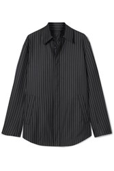 Balenciaga Pinstriped Wool And Cashmere Blend Shirt Navy