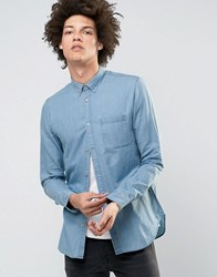 Selected Homme Denim Shirt In Slim Fit Light Blue