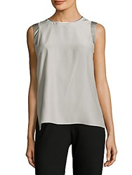 Lafayette 148 New York Gayle Sleeveless Silk Top Pale Grey