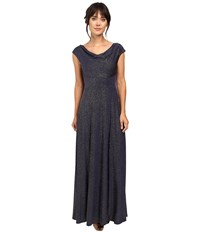 Tahari By Arthur S. Levine Glitter Jersey Cowl Neck Gown Navy Gold Women's Dress Blue