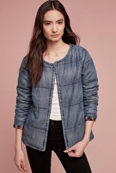 Anthropologie Quilted Plaid Lined Car Coat Denim Light