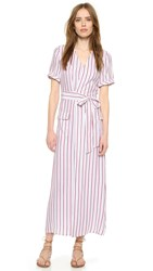 Frame Le Wrap Tie Dress Navy And Red Stripe