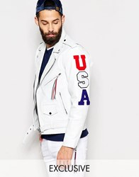 Reclaimed Vintage Leather Jacket With Usa Patches White