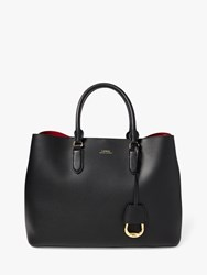 Ralph Lauren Marcy Large Leather Satchel Bag Black Red