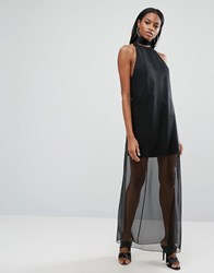 Aq Aq Sheer Skirt Maxi Dress With High Neck Black
